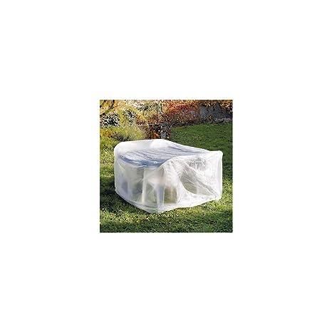 OSE Housse de Protection Table Ronde de Jardin 170 cm Blanc 170 cm ...