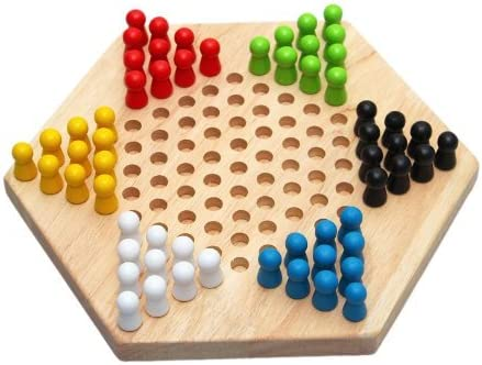 Ndier Traditional Hexagon Wooden Chinese Checkers Family Game Set