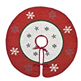 Primode Xmas Tree Skirt 30'', White Center with Red Wide Border Around, Snowflakes and Star Design on Jacquard Woven Fabric, Holiday Tree Decoration