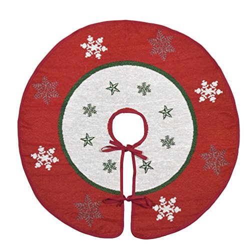 Primode Xmas Tree Skirt 30'', White Center with Red Wide Border Around, Snowflakes and Star Design on Jacquard Woven Fabric, Holiday Tree Decoration by Primode