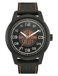 Harley-Davidson Men's Bar & Shield Script Watch, Stainless Steel, Black 78A116 by Harley-Davidson