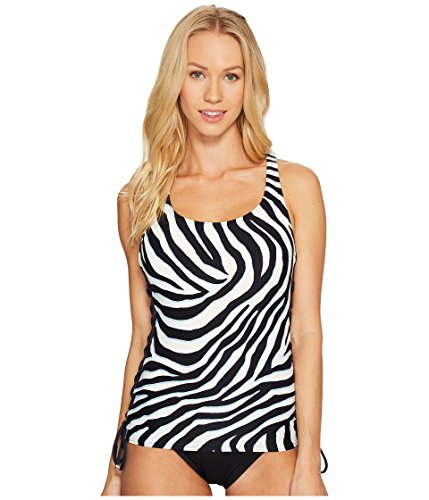 Michael Michael Kors Women's Quincy Zebra Lace-Up Tankini New Navy Swimsuit Top (Michael Kors Junior)