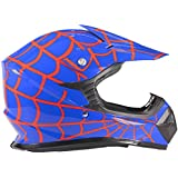 Youth Kids Offroad Helmet DOT Motocross ATV Dirt Bike MX Motorcycle - Red Blue Spiderman - Small