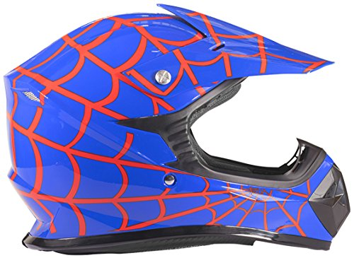 Youth Kids Offroad Helmet DOT Motocross ATV Dirt Bike MX Motorcycle - Red Blue Spiderman - Large