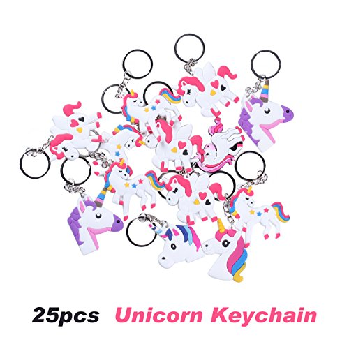 Tween Creature Costumes Set (Rainbow Unicorn Party Favor Keychain Pack, Goody Bag Toys, 25pcs)