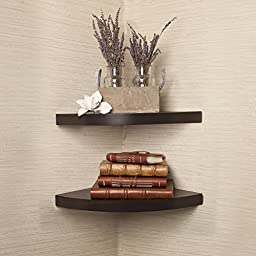 Danya B XF11115-2 Laminate Corner Radial Shelves (Set of 2), Walnut