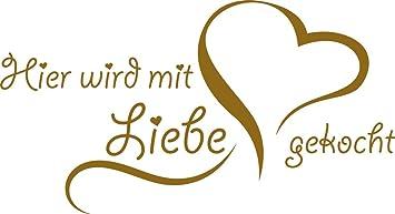 GRAZDesign Geschenk Frau 40 Wandtattoo Sprüche - Deko Küche lustig -  Sprücheküche Hier wird mit Liebe gekocht - Wandtattoo Küche Herz / 55x30cm  / ...