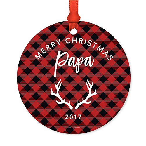 Andaz Press Family Metal Christmas Ornament, Merry Christmas Papa 2019, Deer Antlers Country Lumberjack Buffalo Red Plaid, 1-Pack, Includes Ribbon and Gift Bag