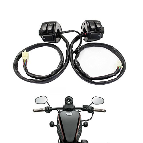 Parts Camp replacement 1 pair Handlebar Control Switches+Wiring Harness For Harley