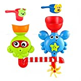 VSANNSZ Baby Bath Toys -Octopus Crab Spin Water Fountain Toys -Flow Fill Spin Water Spout Interactive Baby And Kids Bathtub Toys -with Extra Two Stackable Cups