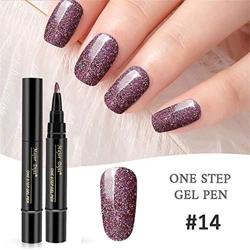 Mlide One Step Gel Nail Polish Pen, No Base Top Coat Need,3 In 1 Step Nail Gel Painting Varnish Pen,Pointed Brush Easy To Color,Soak Off UV LED Nail Varnish Nail Art Kit (#14)
