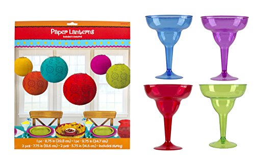 Maven Gifts: Amscan Cocktail Margarita Glasses with Fiesta Paper Lantern Value ()