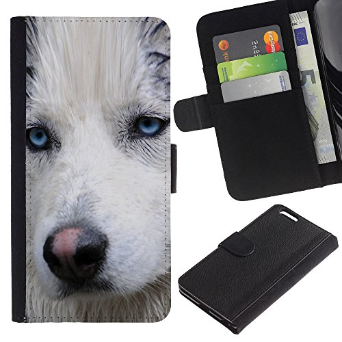 Be Good Phone Accessory // Caso del tirón Billetera de Cuero Titular de la tarjeta Carcasa Funda de Protección para Apple Iphone 6 PLUS 5.5 // Light Blue Eyes Muzzle Husky Dog Wet
