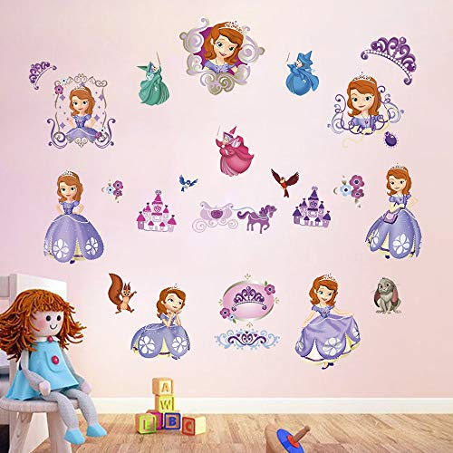 decalmile Princess Sofia The First Wall Decals Girls Wall Stickers Baby Nursery Kids Bedroom Wall Decor ()