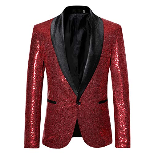 - MAGE MALE Mens Tails Slim Fit Tailcoat Sequin Dress Coat Swallowtail Dinner Party Wedding Blazer Suit Jacket (X35-Red, XL)