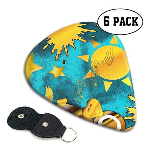 Golden Peace Dove Joy Music Melody Curve Ultra Thin 0.46 Med 0.71 Thick 0.96mm 6 Pieces Each Base Prime Celluloid Ivory Jazz Mandolin Bass Ukelele Plectrum Guitar Pick Pouch Display