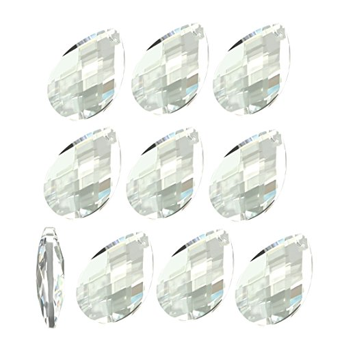(uxcell 10Pcs Teardrop Crystal Glass Beads Clear Chandelier Pendants Decoration for DIY Light Accessories 48mmx31.7mm)