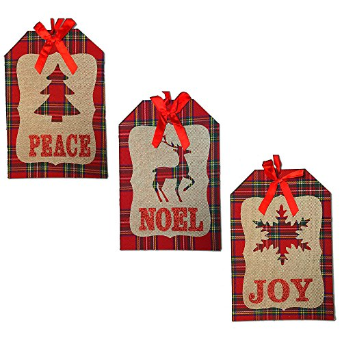 Christmas Decorations For Your Home - Set of 3 Wooden, Plaid & Burlap Christmas Signs - Peace - Noel - Joy
