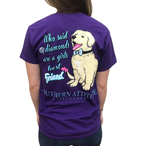 Southern Attitude Dogs Are Girls Best Friends Purple Women's T-Shirt (2X-Large)