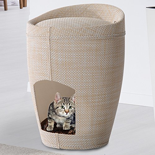 PawHut-51cm-2-In-1-Pet-House-Cat-Tree-Condo-Linen-Sleeping-Bed-Cave-Furniture-Sit-Hide-Cushion-w-Padded-Mat
