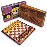 Vintage Wooden Chess Box Set | Classic Strategy Game, Staunton Pieces | Laser-Engraved Display Box Holds Folding Wooden Chess Board