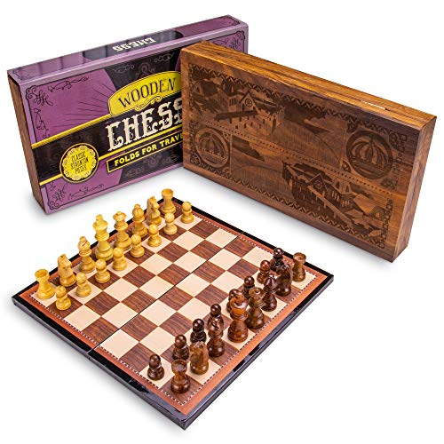 Box Set   Classic Strategy Game, Staunton Pieces   Laser-Engraved Display Box Holds Folding Wooden Chess Board ()
