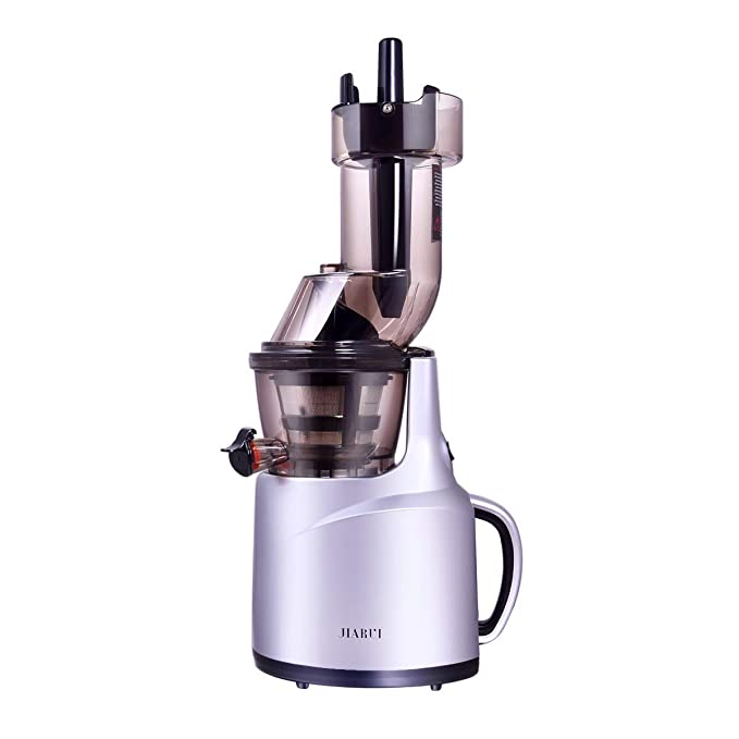 JIARUI 82MM Wide Chute Quite Slow Masticating Vertical Cold Press Juicer, Fruits & Vegetable Juice Extractor (240W AC Motor, 45RPM, BPA Free), One, Silver