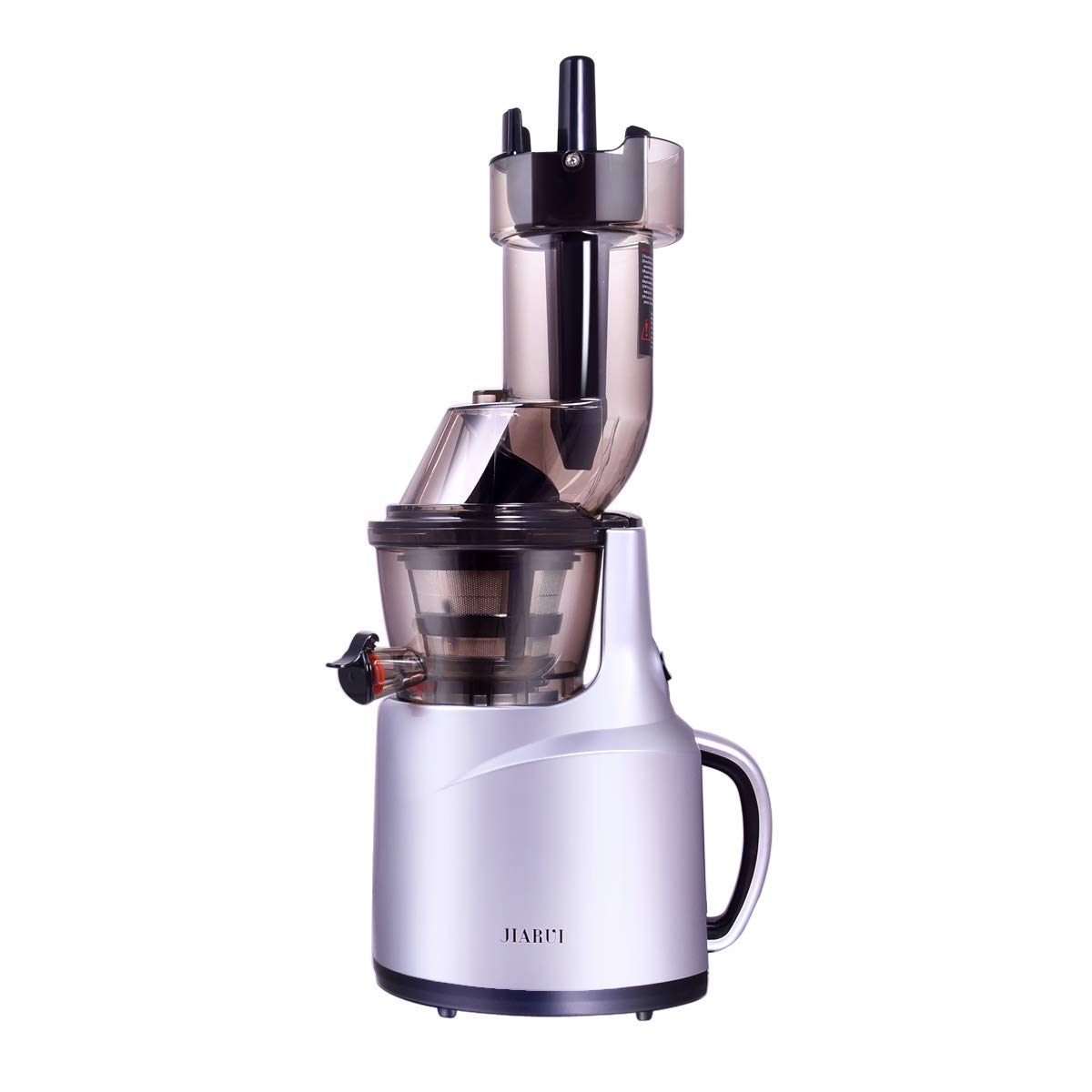 JIARUI 82MM Wide Chute Quite Slow Masticating Vertical Cold Press Juicer, Fruits & Vegetable Juice Extractor (240W AC Motor, 45RPM, BPA Free), 20.9'' x 10.2'' x 6.3'', Silver