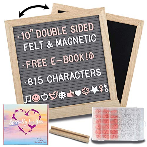 Felt Letter Board with Letters - 10x10 Gray/Black 2in1 Magnetic Chalkboard Message Board: 615 Precut Felt Board Letters, Oak Frame & Stand for Baby Announcement Board with Letters; Farmhouse Decor