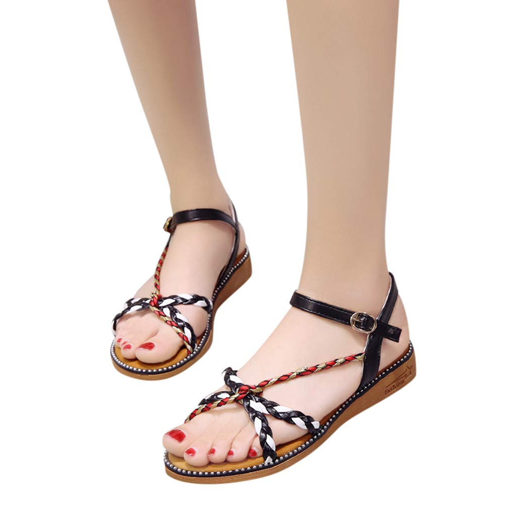 Women's Casual Slippers Open Toe Flat Buckle Strap Shoes Low Heels Hollowed Outdoors Beach Sandals Shoes (Black, 5.5 M US)