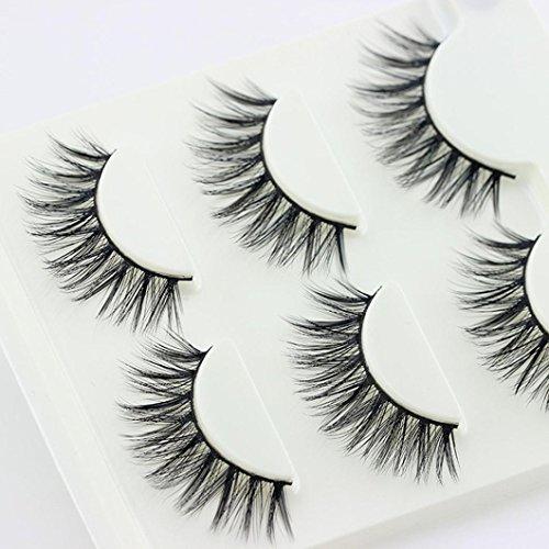 90c4960cfab Amazon.com : 3 Pairs Thick Long Cross Party False Eyelashes Black Band Fake  Eye Lashes (L) : Beauty
