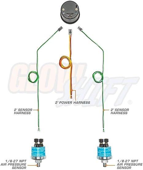 GlowShift Blanco 7 Color Doble Aguja 200 PSI manómetro de presión ...