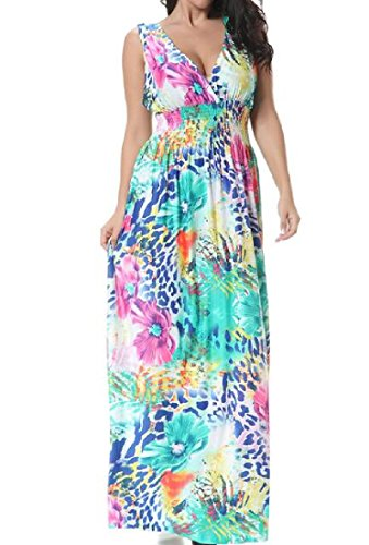 As Deep Maxi Dress Women Printed Picture Floral Sexy Comfy Sleeveless V Long Neck qPOHxpZBw