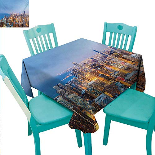 Chicago Skyline Washable Table Cloth Aerial View of Town with Michigan Lake Vibrant City Panorama Evening Time Washable Polyester - Great for Buffet Table, Parties, Holiday Dinner, Wedding & More 70