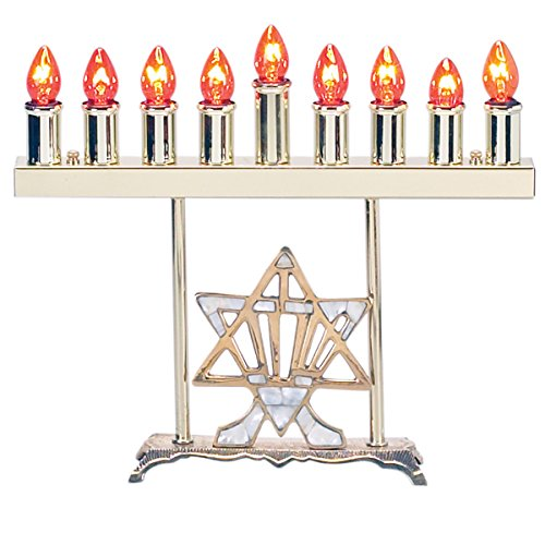 (Israel Giftware Design Menorah Electric Brass with Mother of Pearl Star)