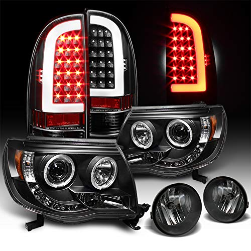 Xtune for 2005-2011 Toyota Tacoma Black Halo Projector Headlights + Optic-Tube LED Tail Lights + Smoked Fog Lamps 2008 2009 10