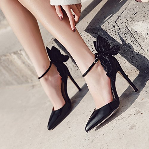 europea alti scarpe 39 da ALUK Colore a americana Scarpe Nero di long245mm tacchi sexy Shoes sandali donna Champagne farfalla Moda e ali punta dimensioni 7xAwIRnq8w