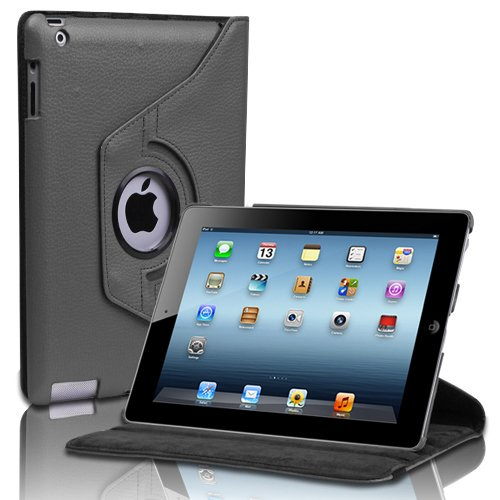CE Compass Swivel-N-Go 360 Rotating Leather Case Cover Stand w/ Stylus Holder For iPad 4 3 2 WiFi 3G 4G LTE (Black)