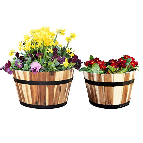 Villa Acacia Medium Whiskey Barrel Planters, Round Wood...