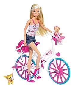 Simba 105739050 Steffi Love - Muñeca con bicicleta, bebé y accesorios [Importado de Alemania]