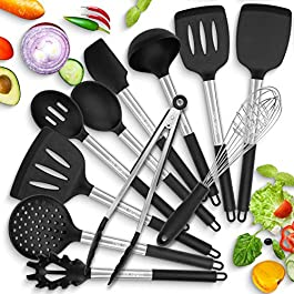 HOT TARGET 11 Silicone Cooking Utensils With Heat Resistant Handles – Stainless Steel Silicone Kitchen Utensils Set…