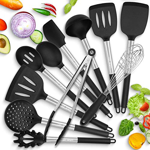 Hot Target set of 11 Silicone Cooking Utensils with Heat Resistant Handles - Stainless Steel Silicone Kitchen Utensils Set - Silicone Utensil Set Spatula Set - Silicone Utensils Cooking Utensil Set