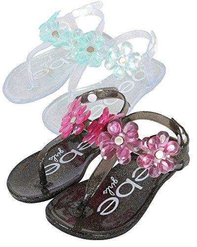 bebe Girls 2 Pack Flower Thong Jelly Sandals (Toddler/Little Kid), Clear-Aqua/Black-Pink, 9-10 M US Toddler'