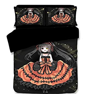 Japanese Anime Cartoon Kids Bedding Set, Kurumi Style Duvet Cover Fashion Teenager Bed Sheets Twin Size 100% Polyester