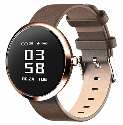 DSMART H2 Smart Fitness Tracker Watch with Step Counter Calories & High-presice Heart Rate/Blood Pressure/Sleep Monitor, Bluetooth Smart Bracelet Sports Wristband for Mens and Womens (brown)