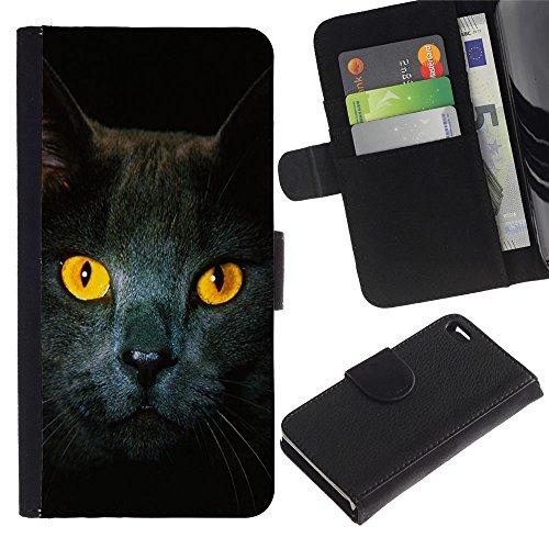 Billetera de Cuero Caso del tirón Titular de la tarjeta Carcasa Funda del zurriago para Apple Iphone 4 / 4S / Business Style Cat Yellow Eyes Grey British Shorthair