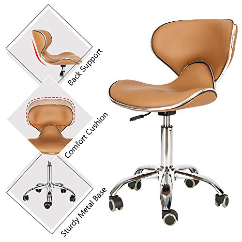 Look Bar Stool Adjustable - Mefeir Hydraulic Rolling Salon Stool Padded with Back Rest, Modern Cushion Drafting Chair on Wheels for Office Home Kitchen Counter, Height Adjustable Swivel Barstool, PVC Leather