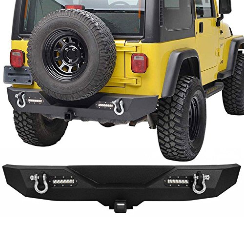 BBUT Rock Crawler Rear Bumper With 2X18W LED Work Lights & 2 inch Hitch Receiver For Jeep Wrangler JK 2007 2008 2009 2010 2011 2012 2013 2014 2015 2016 2017