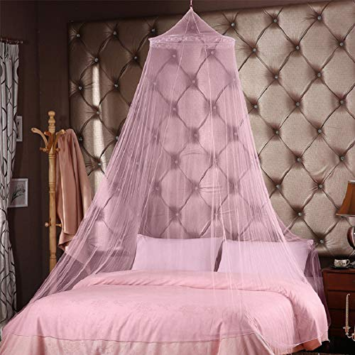 Pink Princess Round Hoop Lace Mosquito Netting Fit Crib Twin Full for Home Travel