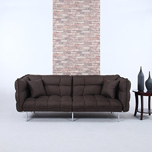 Divano Roma Furniture Collection - Modern Plush Tufted Linen Fabric Splitback Living Room Sleeper Futon (Brown)